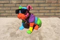 design beeld hand beschilderde zittende bull dog
